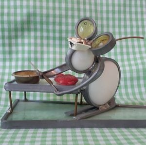 Vintage Stained Glass, Metal Nurse Mouse Figurine